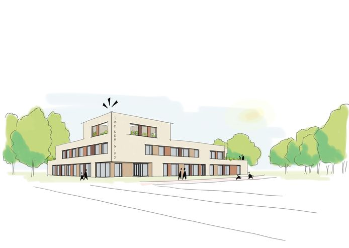 Het voorlopige ontwerp van het vooraanzicht van IKC Remigius, dat moet komen naast het gemeentehuis in Duiven.