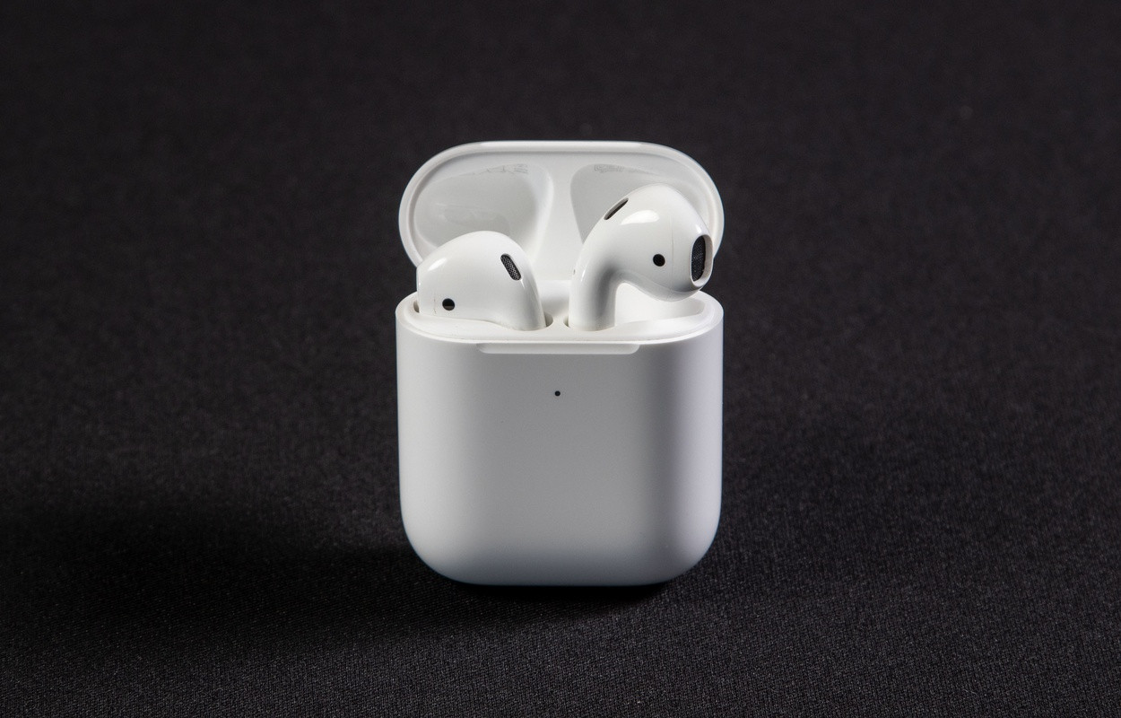 AirPods in charging case.