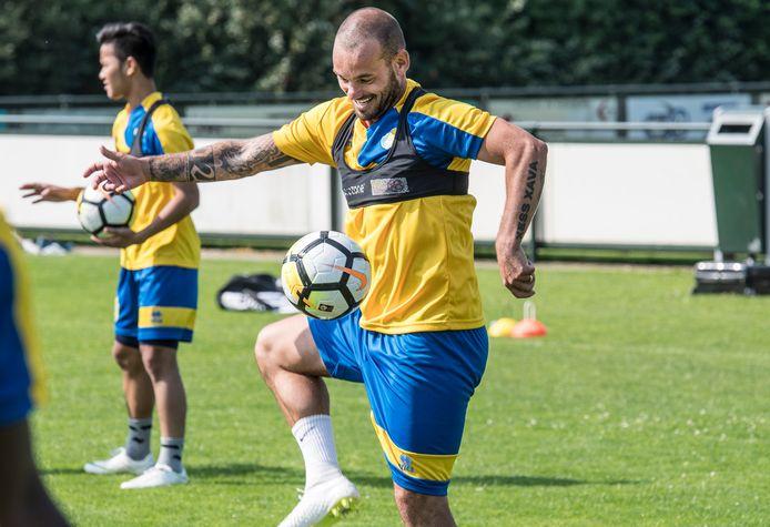 Wesley Sneijder was met Al-Gharafa in 2018 op trainingskamp bij Juliana Mill.