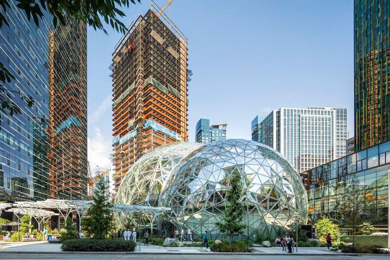 Amazons campus in Seattle. In New York hebben buurtbewoners een stokje gestoken voor de bouw van een nieuwe vestiging. Beeld Bruce Damonte/Amazon