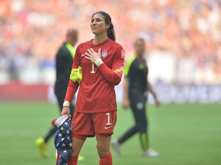 Hope Solo, keeper voor de Amerikaanse nationale damesploeg, na de finale van het WK vorig jaar