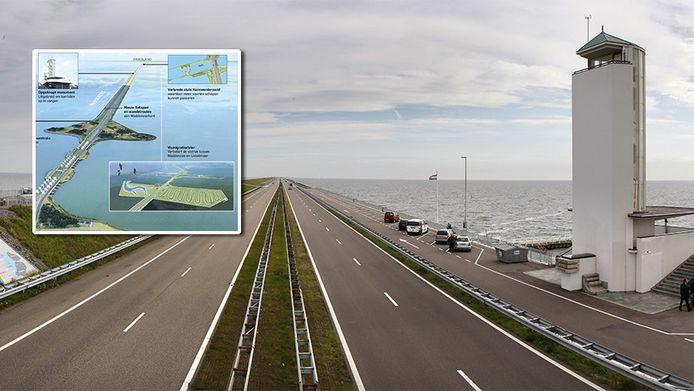 De Afsluitdijk. Inzetje: een deel van de plannen