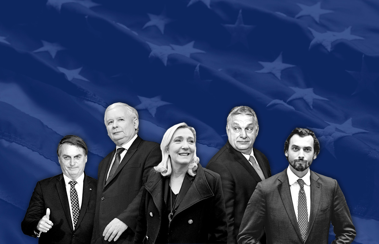 Van links naar rechts: Jair Bolsonaro, Jarosław Kaczyński, Marine Le Penn, Viktor Orbán en Thierry  Beeld Trump