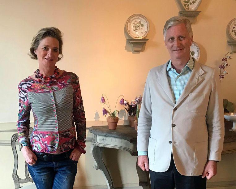 Prinses Delphine en koning Filip. Beeld AFP