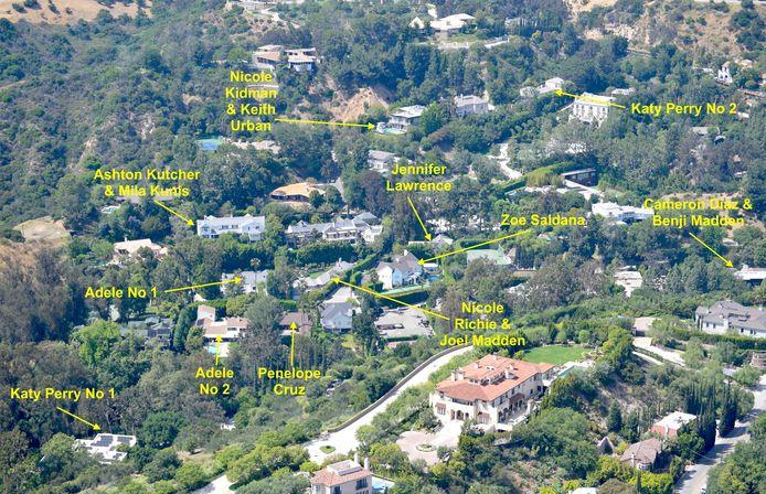 Alle beroemdheden in Hidden Valley. Het huis van Nicole Richie en Joel Madden werd nu overgekocht door Adele.