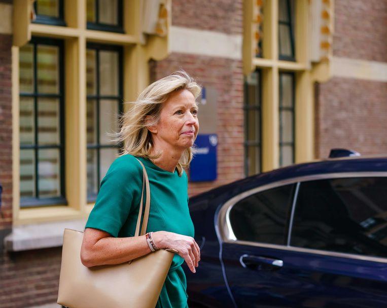Kajsa Ollongren, demissionair minister van binnenlandse zaken en koninkrijksrelaties, op het Binnenhof na afloop van de wekelijkse ministerraad. Beeld Marco de Swart, ANP