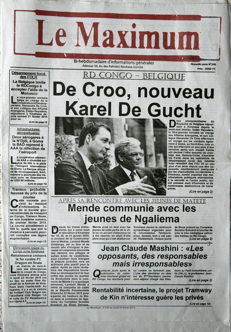 De Croos kritiek op de mensenrechtensituatie werd hem niet in dank afgenomen in de Congolese pers. Beeld rv