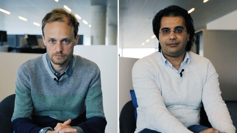 Journalisten Bruno Struys en Mahmoud Elsobky onderzochten de migratieroutes vanuit Afrika. Beeld Dries Vermeulen
