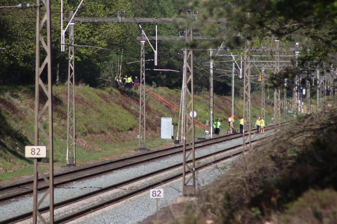 De politie doet onderzoek bij een stoffelijk overschot langs het spoor.