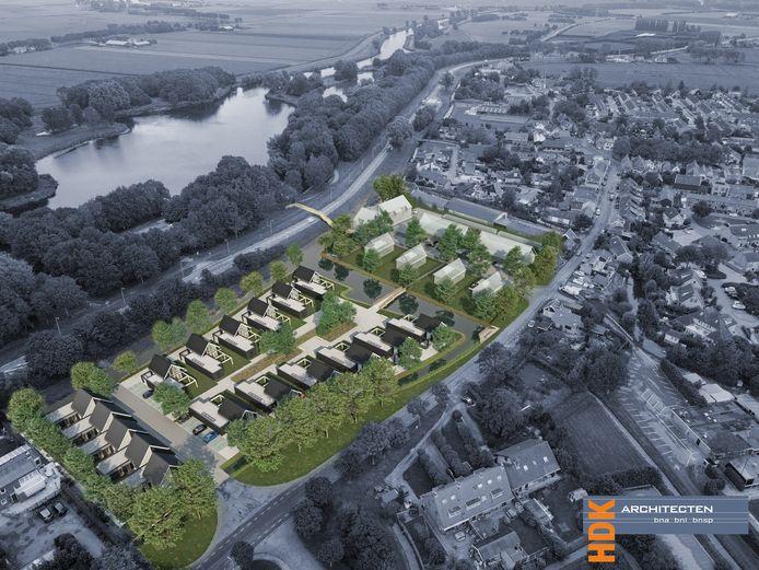 Zo komt het nieuwe wijkje van Abbenbroek tegenover rivier de Bernisse eruit te zien.