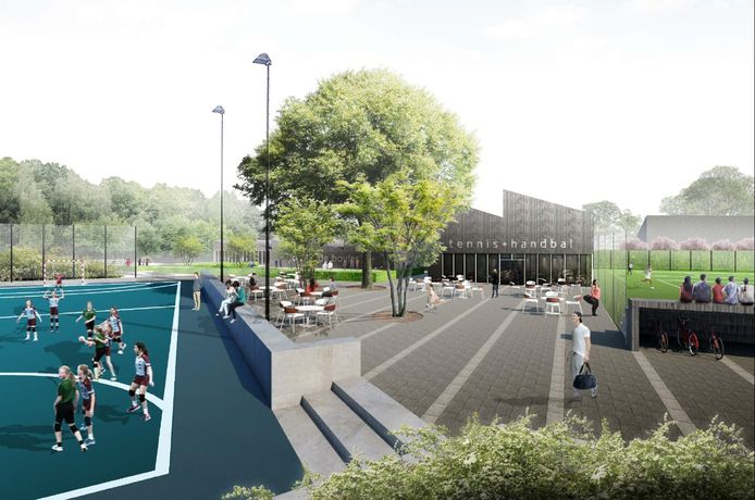Artist's impression van het sportpark, dat het hart moet vormen van het nieuwe buurtje in Liendert.