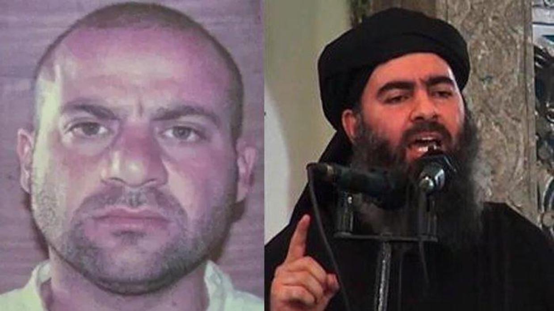 Abdullah Qardash (links), en rechts Abu Bakr al-Baghdadi, die zaterdag in Idlib werd gedood.  Beeld
