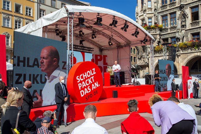 Olaf Scholz, de bondskanselierskandidaat van de sociaaldemocraten (SPD). Beeld EPA