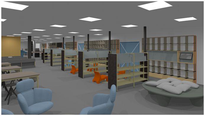 Theek5 in CC De Boodschap komt vooraan in het gebouw. Het gesloten karakter van de bieb is doorbroken, muren zijn verdwenen zodat een open ruimtelijke indeling is ontstaan.