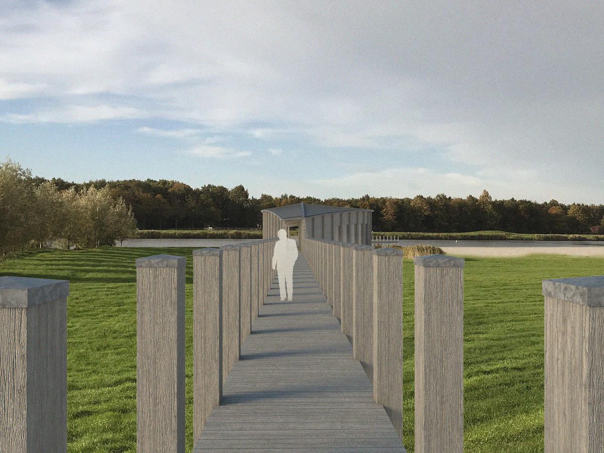 Steigers en meerpalen zijn de belangrijkste ingrediënten die de architecten van het Zwolse bureau VANDERSALM-aim gebruikten voor het ontwerp van Paviljoen Zwemlust. Op de achtergrond het Waterloopbos in buurgemeente Noordoostpolder.