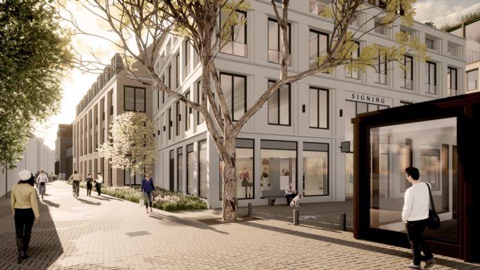 Impressies van de nieuwbouw en uitbreiding rond de Weeshuisstraat in het Broerenkwartier in Zwolle, hier gezien vanaf de hoek Nieuwstraat-Broerenstraat.