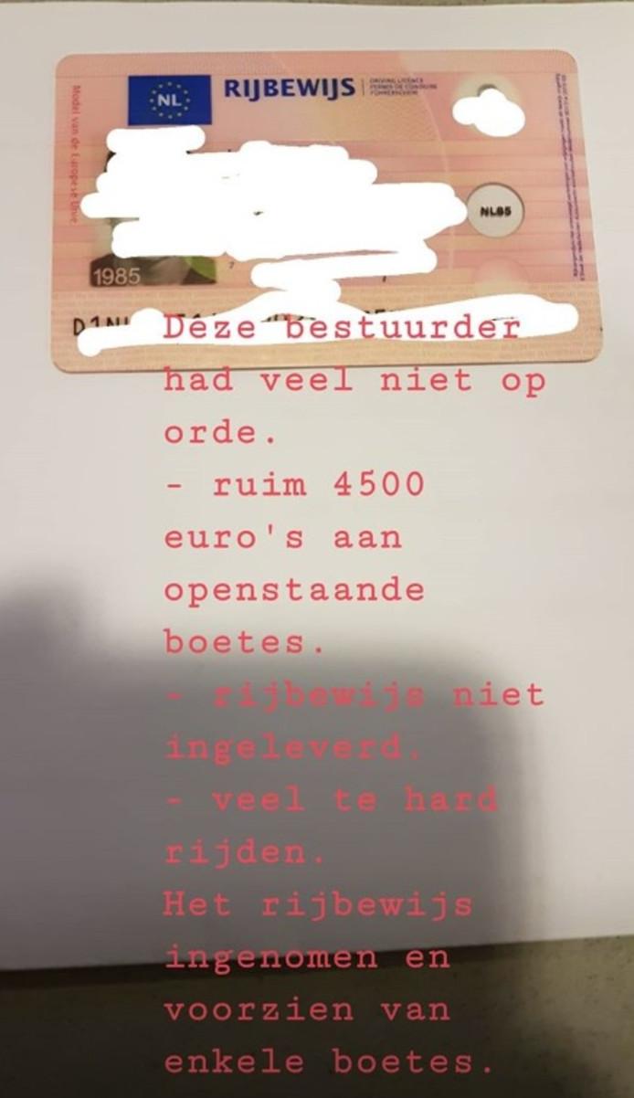 Politie Dordrecht int boetes van 4500 euro van automobilist.