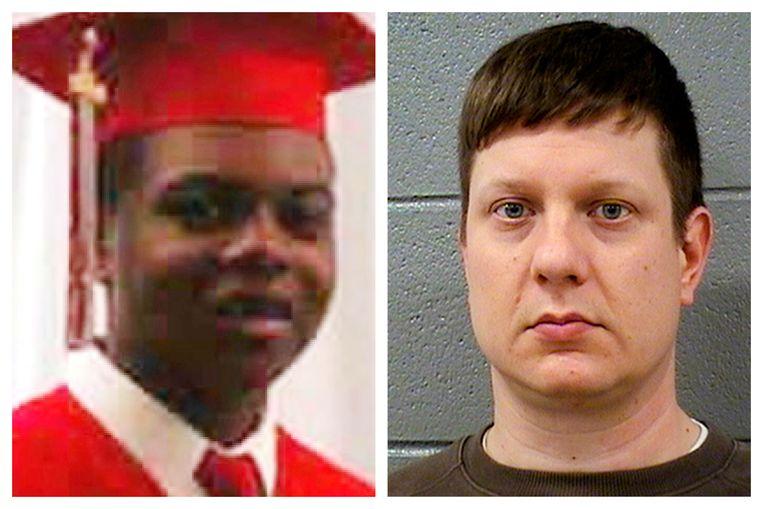 Politieman Jason Van Dyke (r) verschijnt deze week voor de rechter op beschuldiging van moord op de 17-jarige Laquan McDonald. Beeld AP