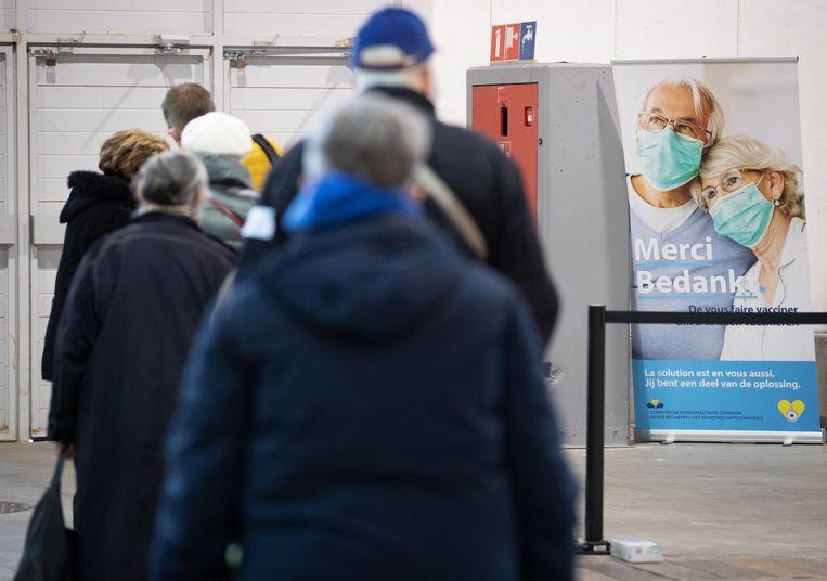 Het vaccinatiecentrum op de Heizel in Brussel. Beeld BELGA