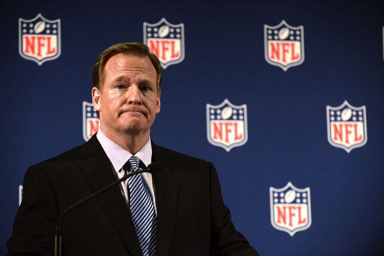 Roger Goodell, president van de NFL, tijdens een persconferentie vrijdag. Beeld ap
