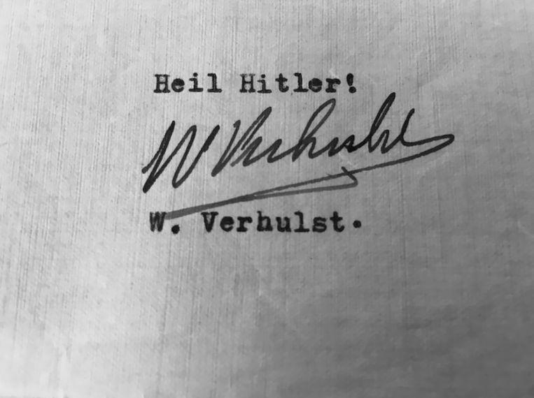 Heil Hitler-handtekening van Willem Verhulst. 'De opgang' van Stefan Hertmans heeft alles in zich om incontournable te worden op de rijkgevulde planken over WO II en collaboratie. Beeld RV