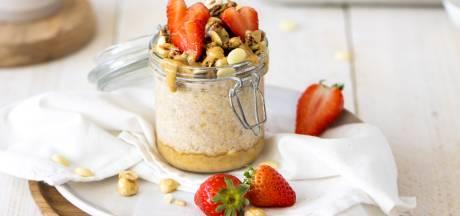 Wat Eten We Vandaag: Overnight oats met hazelnootpasta