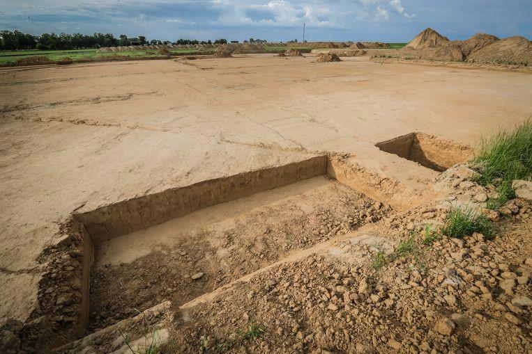 De vondst werd gedaan in de Montenakenstraat in Gingelom. Beeld Borgerhoff