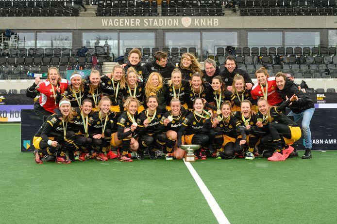 Vreugde bij HC Den Bosch na de eclatante zege tijdens de finale van de EHL.