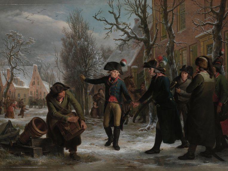 'Generaal Daendels neemt afscheid van luitenant-kolonel Krayenhoff' (1795). Het Franse leger was Nederland binnengedrongen. Daendels, generaal in Franse dienst, stuurde Krayenhoff naar Amsterdam om het stadsbestuur te vragen af te treden. Beeld Adriaan de Lelie