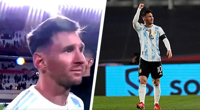 Links: een emotionele Messi na afloop van de wedstrijd.  Rechts: Messi viert z'n hattrick.