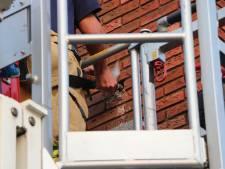 Brandweer bevrijdt vogeltje dat vast in muur zit