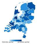 Landkaart van vacatures in de schoonmaakbranche (stand april 2021). Hoe diepblauwer de kleur hoe meer vacatures.
