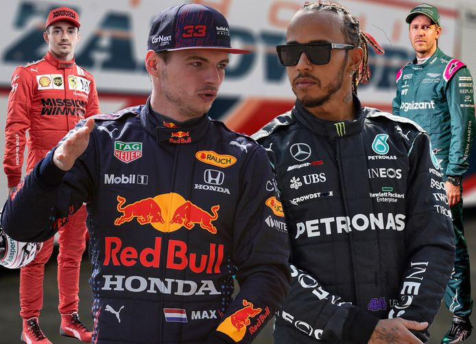 Vlnr: Charles Leclerc, Max Verstappen, Lewis Hamilton en Sebastian Vettel.