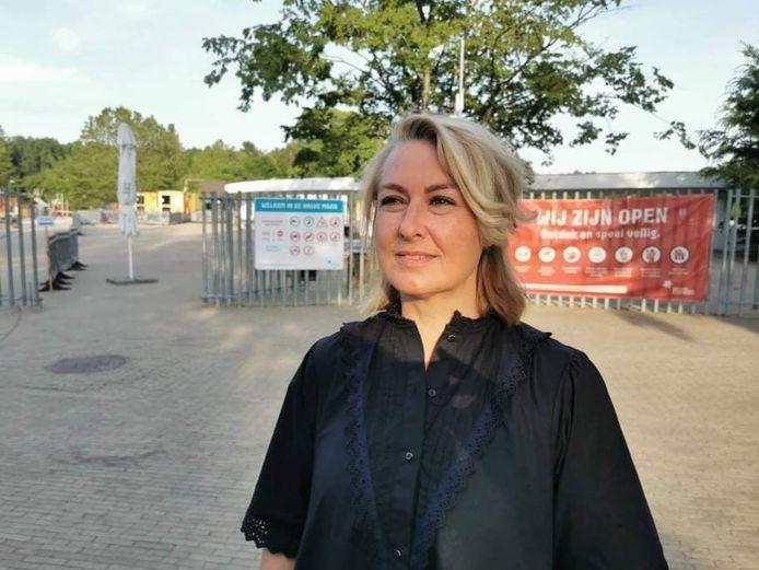 Carina Jankowski, Vooruit-raadslid en voorzitter fractie Diest, aan Provinciedomein Halve Maan.