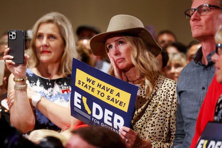 Ontgoocheling bij de aanhangers van Republikein Larry Elder. Beeld AFP