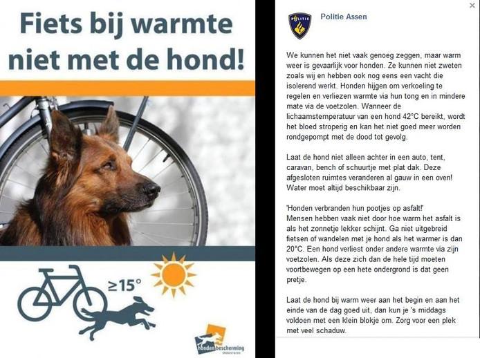Ook de politie waarschuwt hondenbezitters niet met hun huisdier te gaan fietsen in deze hitte.