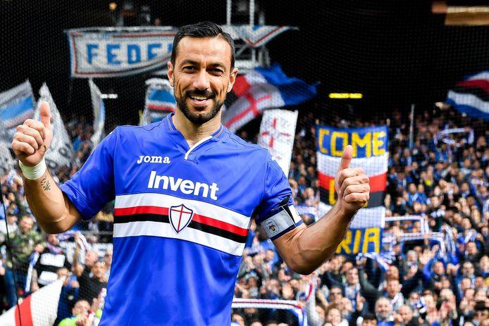Sampdoria-spits Fabio Quagliarella (36) na de gewonnen derby tegen Genoa.