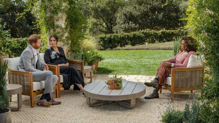 Harry en Meghan in het interview met Oprah Winfrey. Beeld Talpa