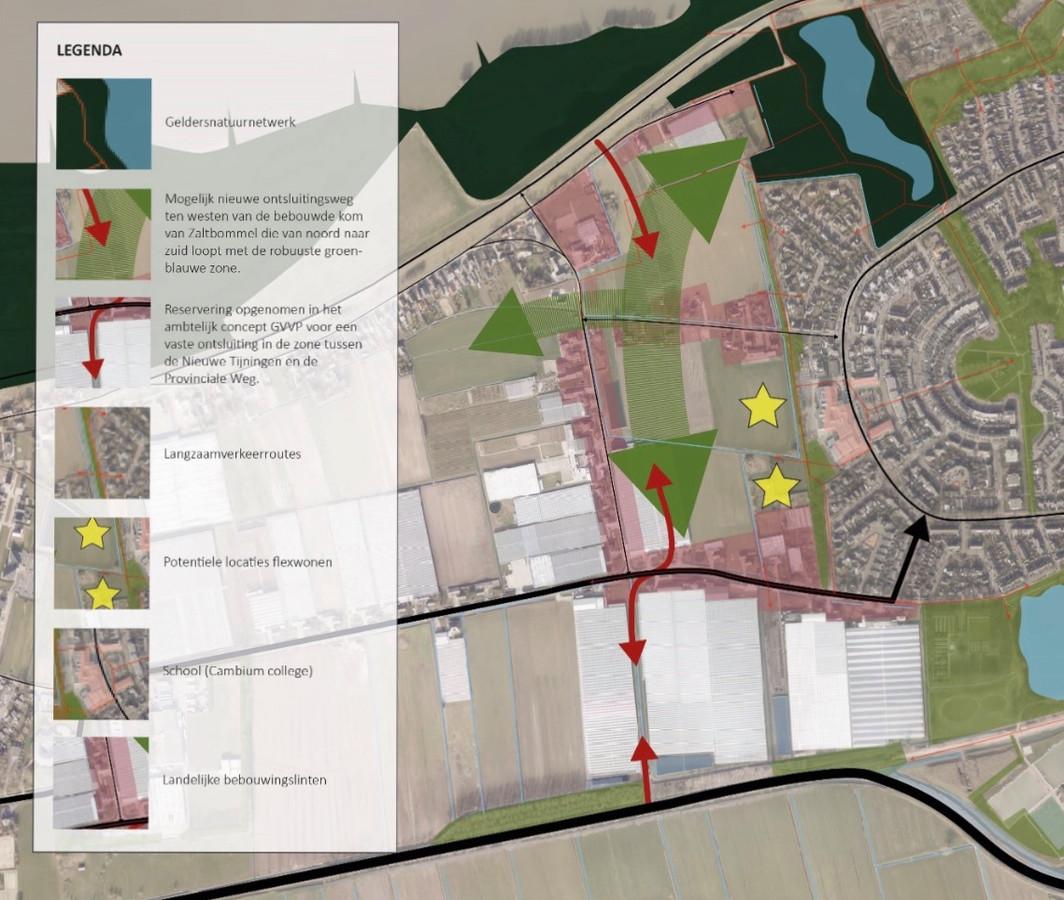Het gebied van de toekomstige wijk Spellewaard-west. De locaties waar de gele sterren staan, zijn in beeld door flexwoningen.