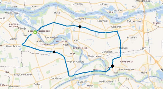 De omleidingsroute in verband met de werkzaamheden aan de Wilhelminasluis en de stremming van de N322.