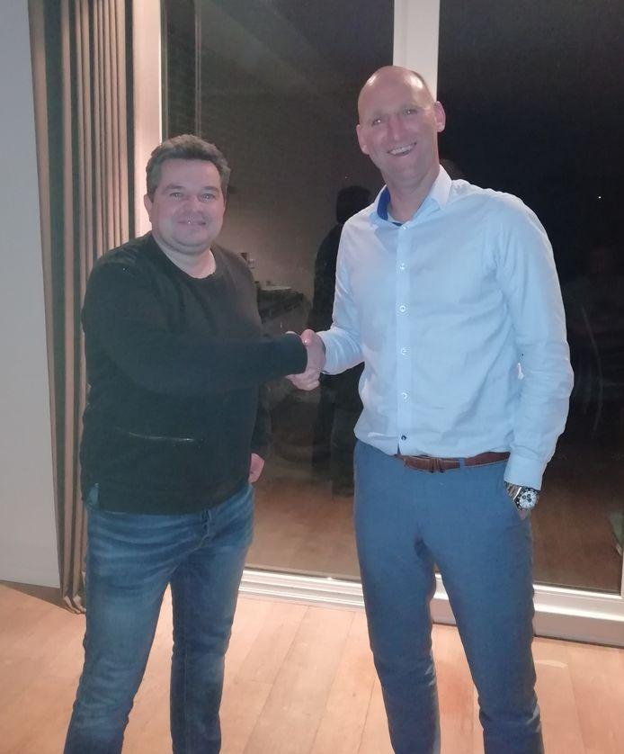 Arjan Sandee (links) eerder bij zijn presentatie als trainer van ZSC'62.