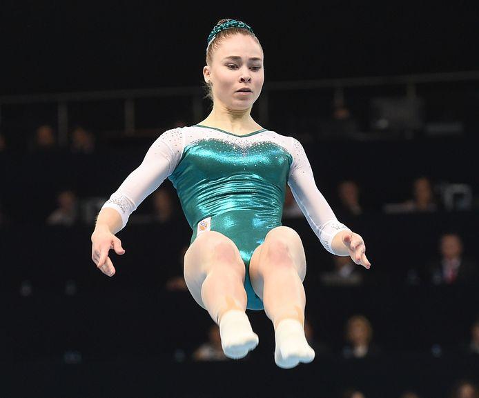 Eythora Thorsdottir tijdens een vloeroefening in 2019.