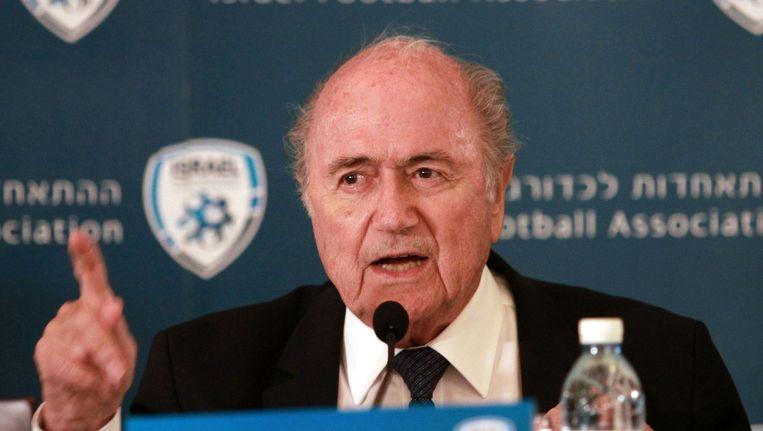 FIFA-voorzitter Blatter tijdens een persconferentie op 19 mei 2015. Beeld null