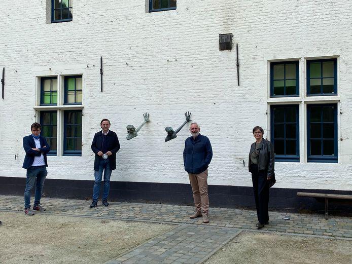 Dries Peeters (Directeur CC het Gasthuis Aarschot), Kris Peetermans (Schepen en voorzitter IGCS), Guido Peers (Coördinator IGCS) en Anja Peeten (schepen Holsbeek) waren aanwezig op de voorstelling.