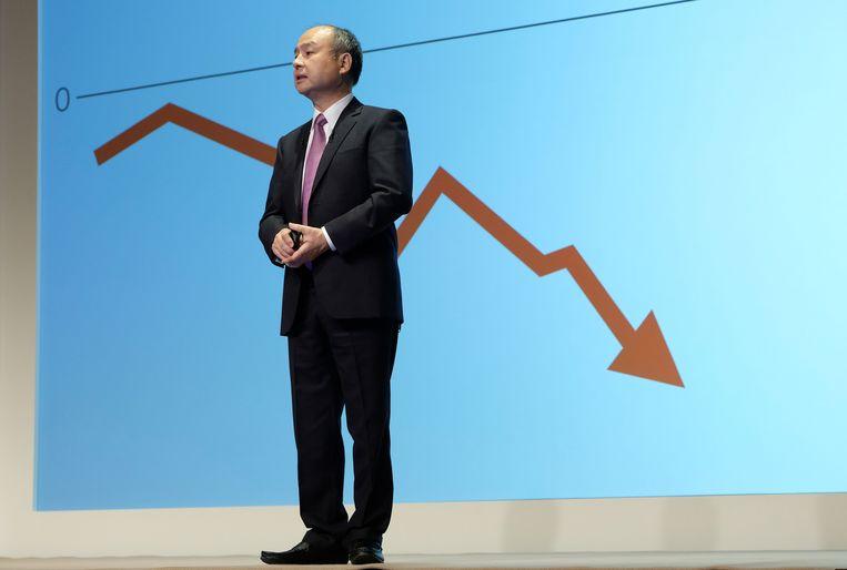 Masayoshi Son, de topman van de Japanse investeerder SoftBank Group, ziet zijn belangen in onder meer WeWork en Uber kelderen. Beeld AFP
