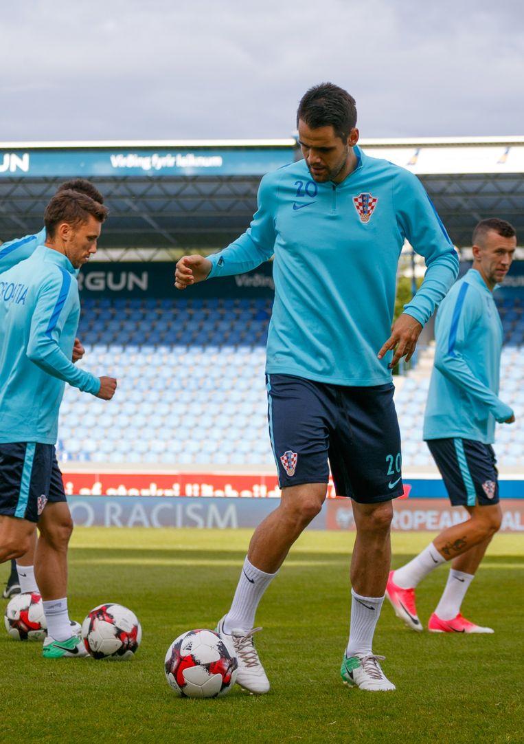 Andrijasevic met de Kroatische nationale ploeg vorige week in IJsland. Beeld EPA