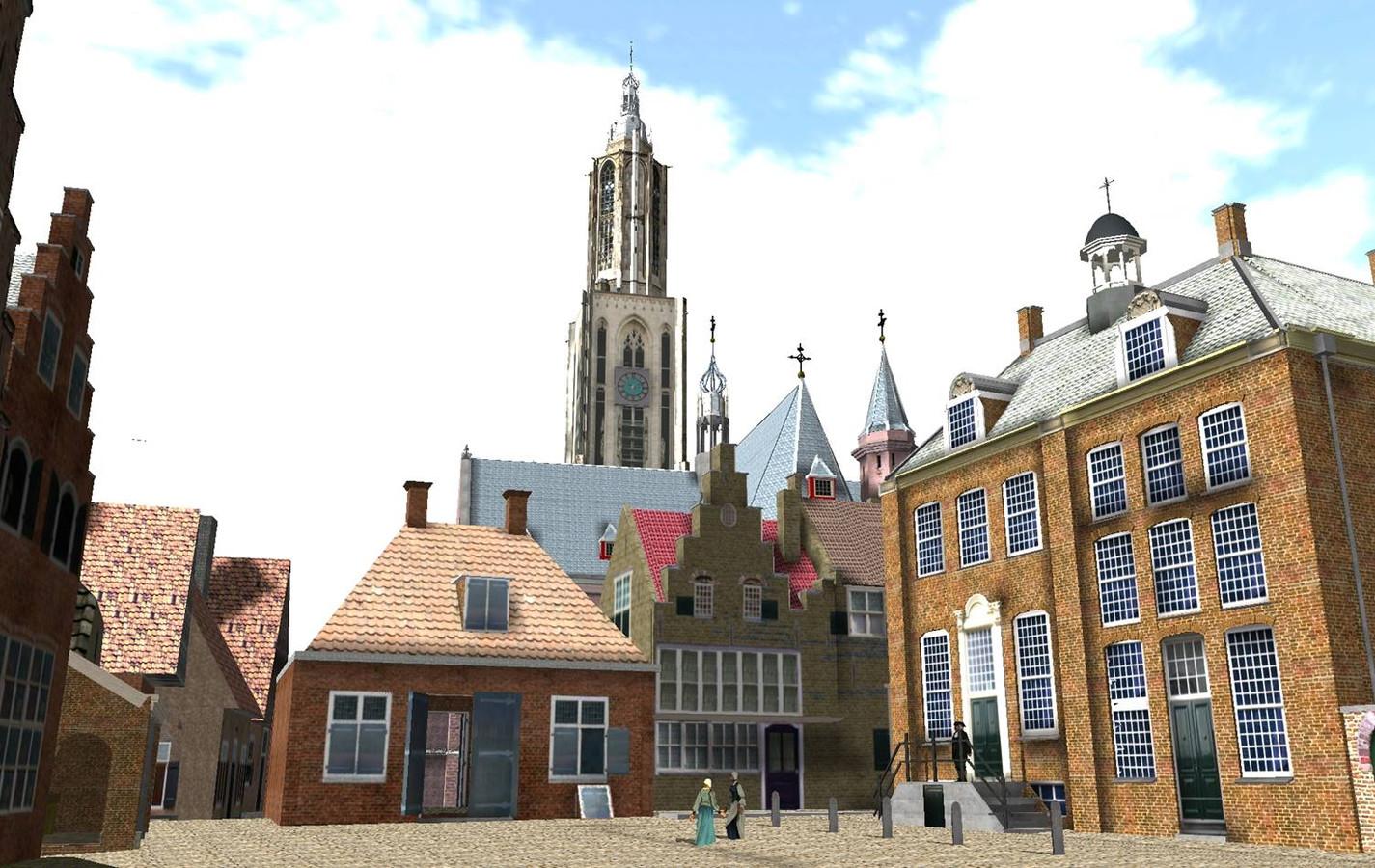 De Vismarkt met rechts het oude stadhuis.