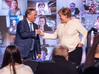 """Angela Merkel roept nogmaals op om voor partijgenoot Laschet te stemmen voor """"stabiel Duitsland"""""""