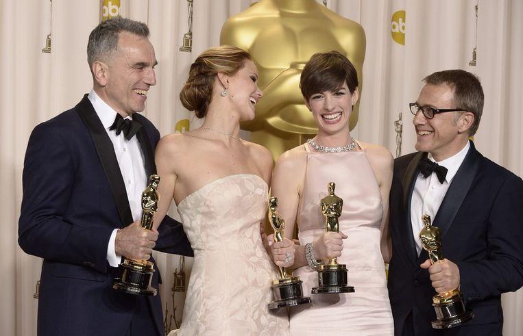Beste acteur Daniel Day-Lewis (Lincoln), beste actrice Jennifer Lawrence (Silver Linings Playbook), beste actrice in een bijrol Anne Hathaway (Les Miserables) en beste bijrolacteur Christoph Waltz (Django Unchained). Beeld epa