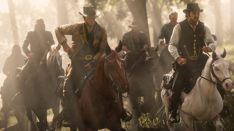 De bende van outlaw Dutch Van der Linde in 'Red Dead Redemption II'. Als films als 'Once Upon a Time in the West' en 'The Wild Bunch' een western mogen worden genoemd, dan deze game ook. Beeld Rockstar Games